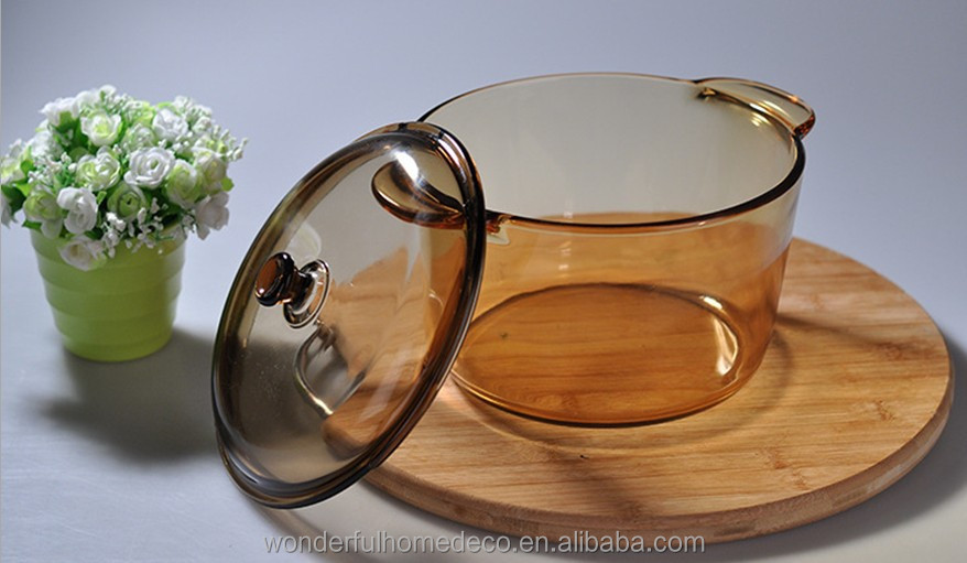 High quality clear glass cooking pot/large commercial cooking pots/transparent glass cooking pot