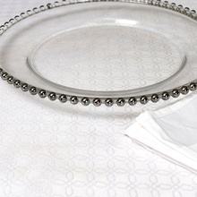 clear round beaded glass wholesale charger service <strong>plate</strong>