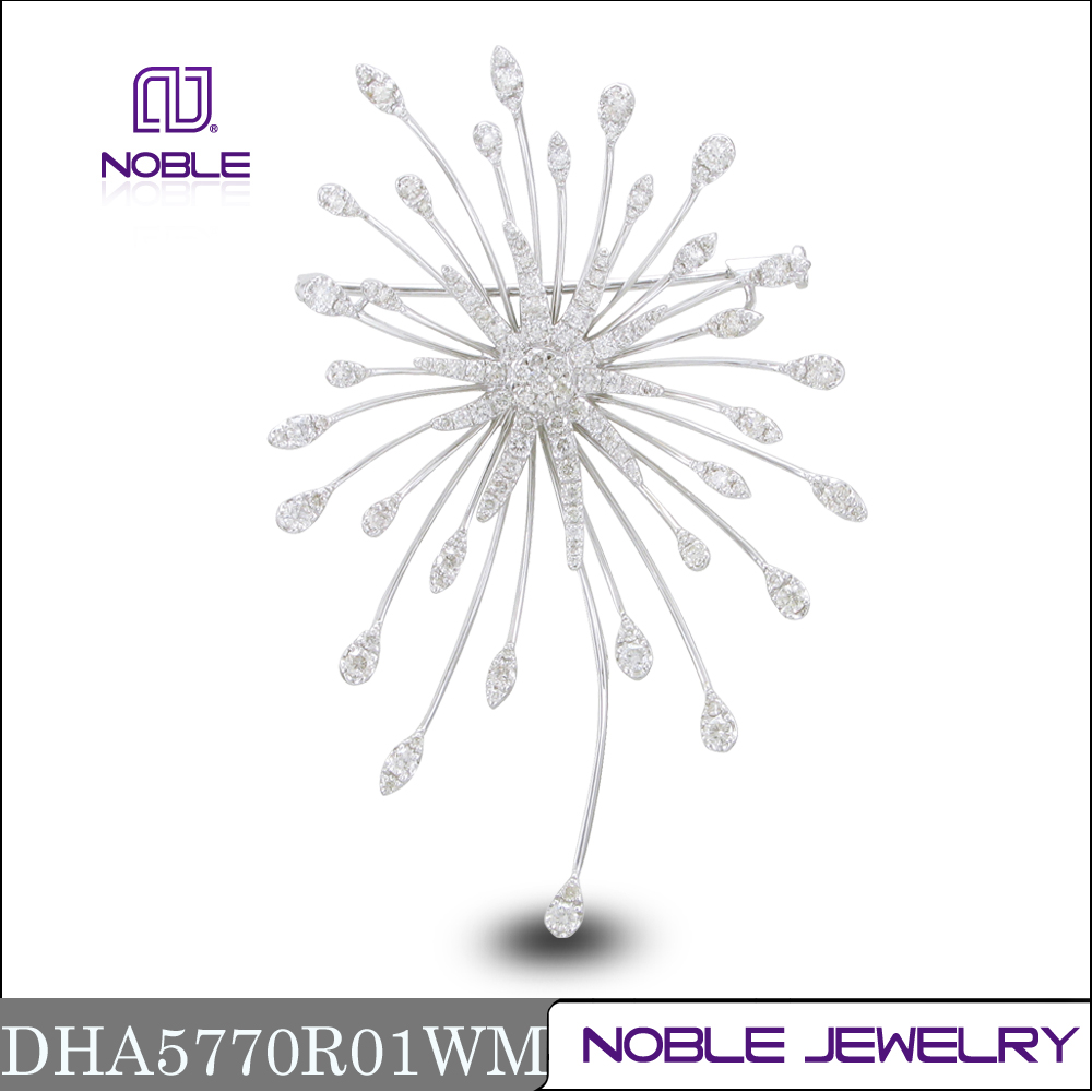 Fashion design 18k white gold nature diamond brooch jewelry