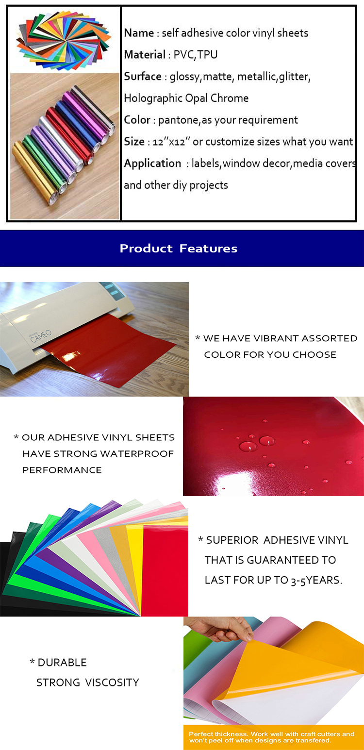 40 Pack 12'' X 12'' Premium Permanent Self Adhesive Color Backed Vinyl Sheets