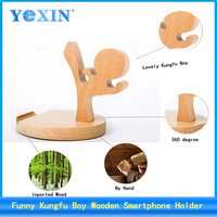Funny Creative Wooden Kungfu Boy Holder for Smartphone,creative shaped phone holder