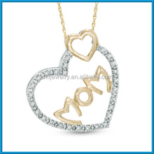 Fashion gold chain diamond MOM double heart pendant necklace jewelry