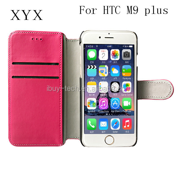 Hot Selling Bright Color Leather Wallet Style Magnetic Flip Stand Mobile Phone Case For HTC One M9 Plus