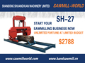 Automatic Portable Horizontal Band Sawmill MJ1300 with electrical motor