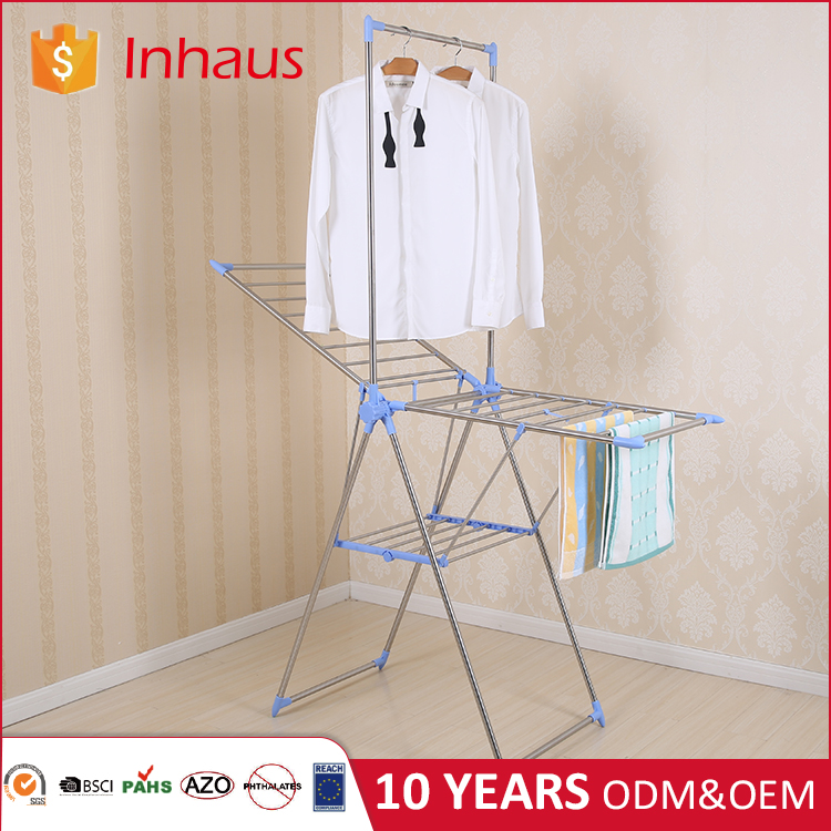 Indoor outdoor stainless steel laundry hanger rack folding portable cloth stand balcony vertical adjustable clothes dryer price
