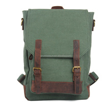 Outdoor high quality durable custom leather canvas sports backpack