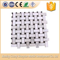 White Marble With Black Dots Polished Mosaic Tiles Sheets