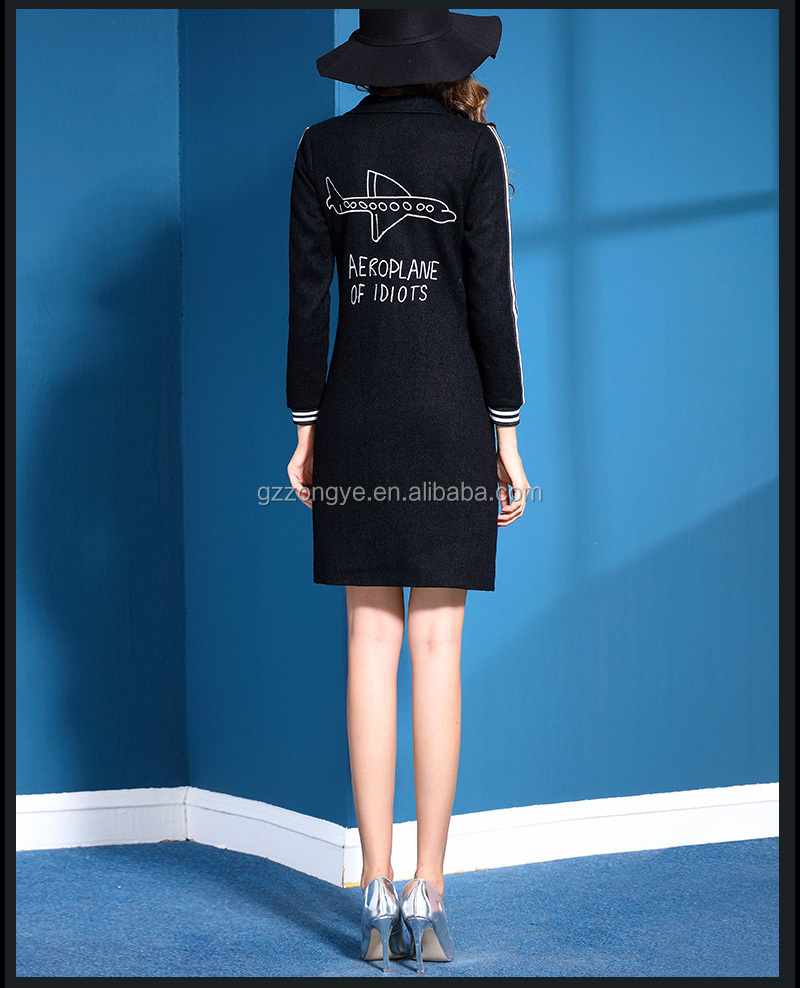 Autumn and Winter stylish lapel cardigan long sleeve coat with pocket China garment manufacture