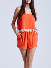 Custom design spaghetti straps new playsuit lace new orange jumpsuit