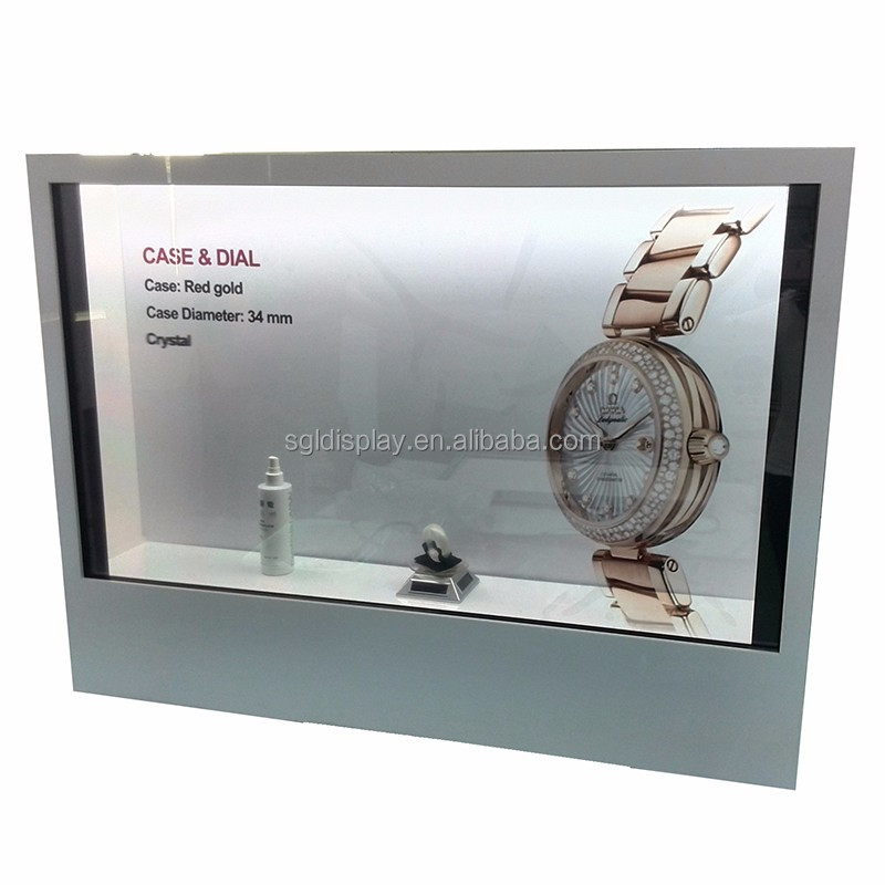 transparent lcd cosmetic display with touch screen for public places and mall
