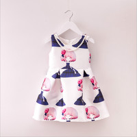 China Wholesales children sundress vest printed mini A-line frock white fashion dresses for 2-8 years girl