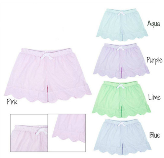 Bulk wholesale Woman Comfortable Monogrammed Seersucker Shorts with wavilness border and front elastic
