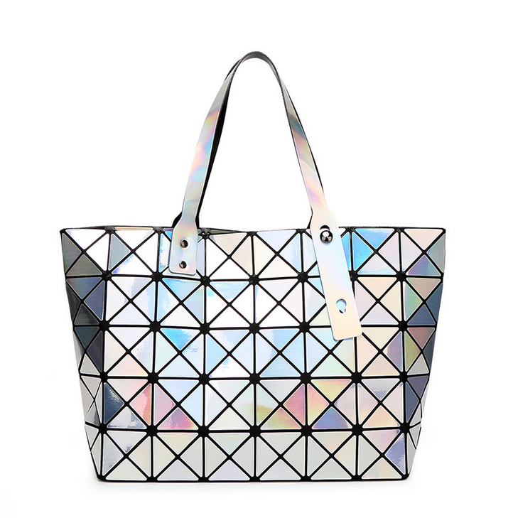 New Brand Candy Colors Big Capacity Baobao Geometry Sequins Mirror Plain Folding Shoulder Tote Silver Women Fashion Bag