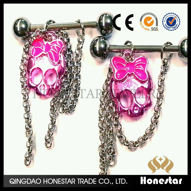 Fashion Nipple Rings Barbells Sexy Piercing Dangle Pink Skull Piercing jewelry