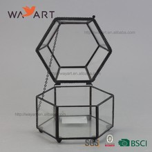 Metal Frame Geometric Small Glass Jewelry Trinket Storage Box