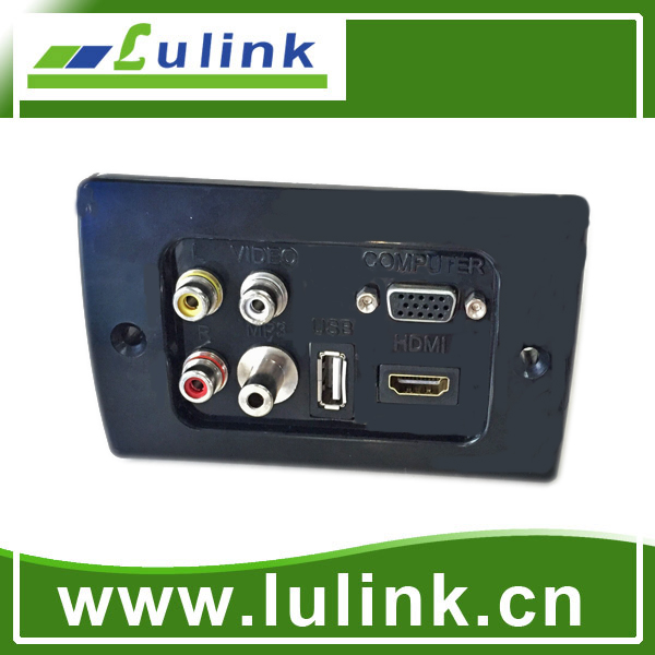 hot sale hdmi vga wall plate with 3.5mm audio jack,custom wall plates