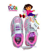 Pink Girls Shoes Cheap Cartoon Dora the Explorer Trainers Velcro Sports Shoes
