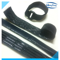 Anti slip elastic hook and loop strap with silicone rubber backing