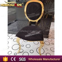 wholesale party americana gold stainless steel black cushion chair