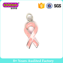 Wholesale Enamel Pink Silver Cancer Awareness Ribbon charm #14886