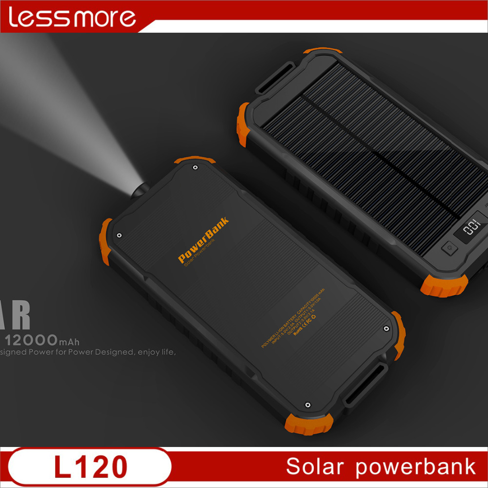 Hot selling Torch solar power charger 12000mah, torch solar power bank with LCD,new revolutionary product