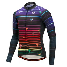 Men Cycling Jersey Long Sleeve Winter Thermal Fleece MTB Mountain Bike Clothing Breathable Quick Dry Bicycle Wear