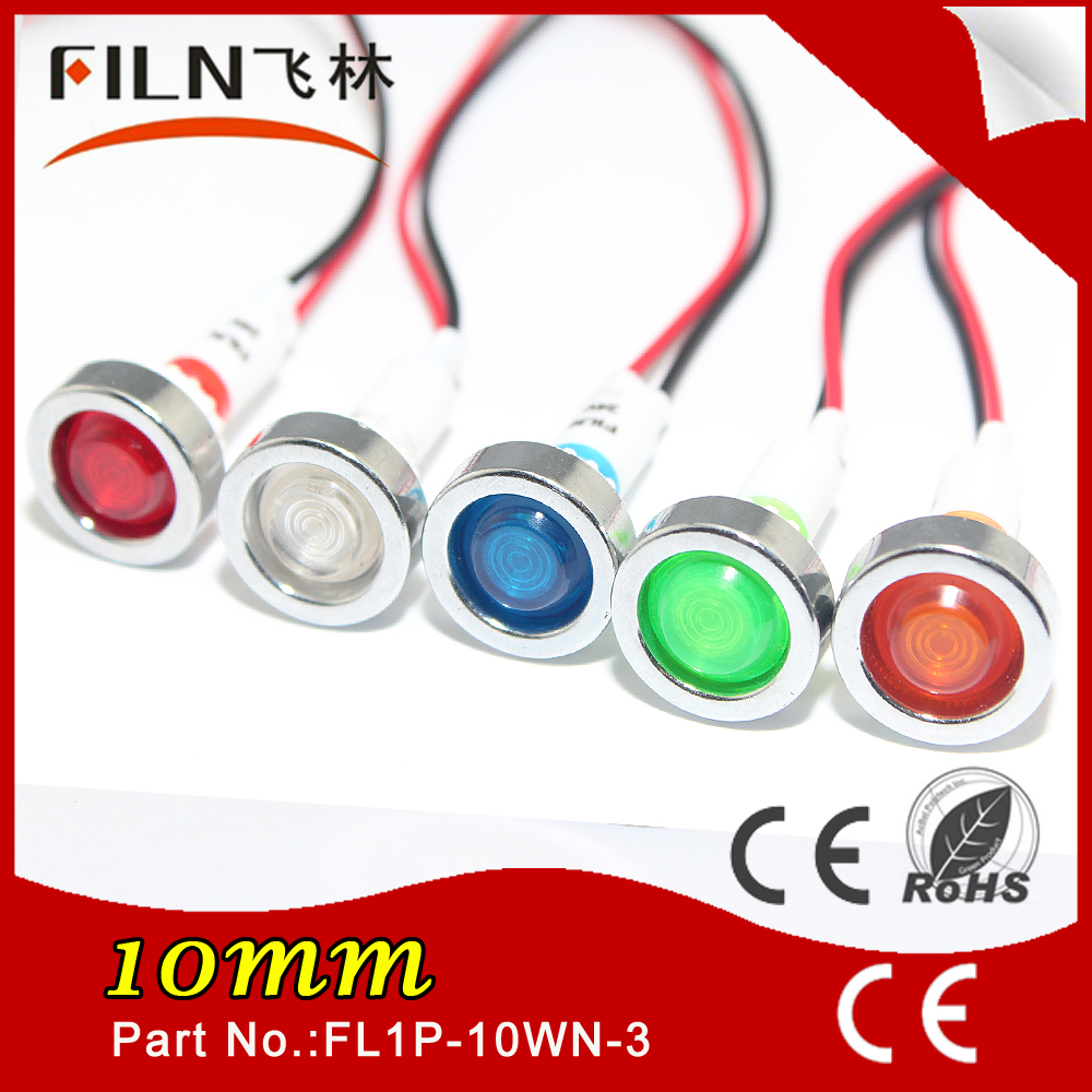 10mm 12v mini led indicator pilot siganl light lamp price low with 20cm wire FILN brand