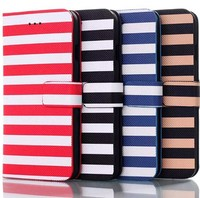 2014 stripe leather for iphone6 4.7 inch case with wallet slots