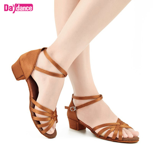 Kids Low Heel Satin Latin Dance Shoes For Girls