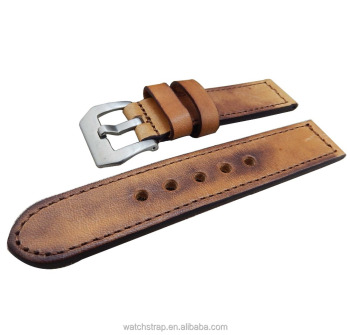factory wholesale 22mm Vintage handmade genuine leather watch strap