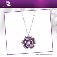 2016 New Fashion Colorful Solid Purple Flower Necklace Jewelry with Crystal for Young Ladies