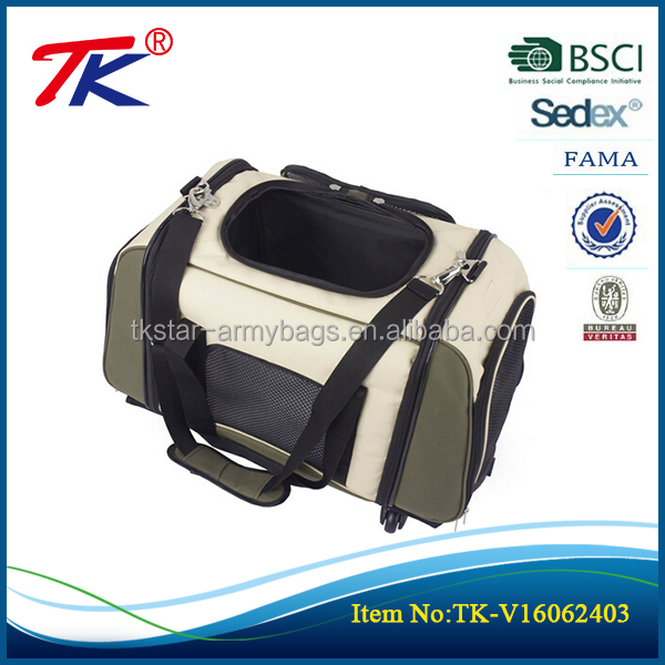 2016 new arrival Soft Sided Large Cat/Dog polyester pet carrier with wheels