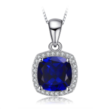 JewelryPalace Classic 3.3CT Cushion-Cut Blue Created Sapphire Wedding Engagement Anniversary Pendant 925 Sterling Silver