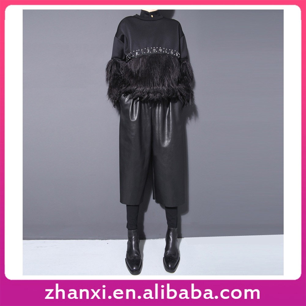 Hot sale PU leather loose one piece loose wide leg pants