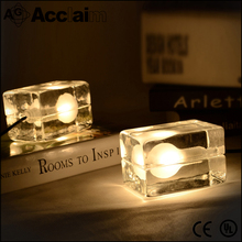 Creative simple clear glass lamp shade diy mini table lamp for bedroom coffee shop with edison bulb