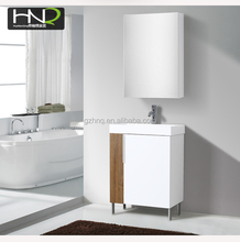 chinese top-end product wood grain aluminum wall mounted bathroom sink vanity combo cabinet storage