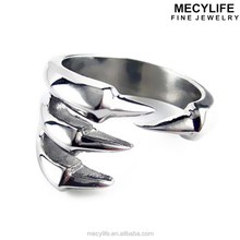 MECYLIFE Stainless Steel High Polished Adjustable Wolf Claw Rings
