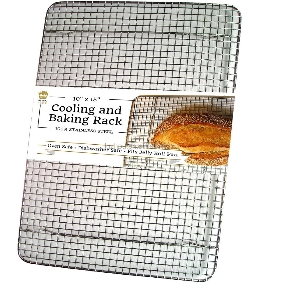 "100% Stainless Steel Cooling Rack for Baking by Ultra Cuisine 10""x15"" fits Jelly Roll Pan, Heavy Duty Wire Grid Oven Safe for Ro"