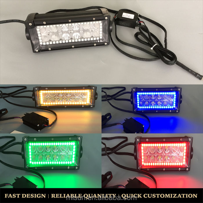 7 Inch 36W RGB LED work light bar with offroad Lamp ATV with bluetooth remotes