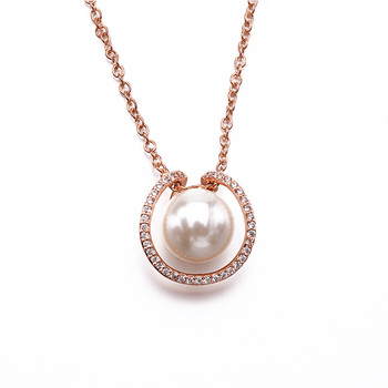 Wholesale promotional white plastic pearl, white round cz, fresh water natural pearl necklace jewelry