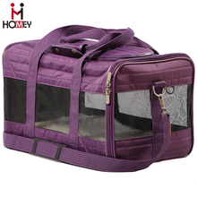 Leather Animal Carry Case Folding Airline Compliant Pet Carrier Puppy Travel Bag