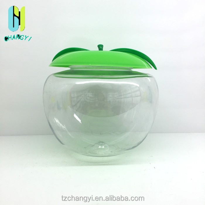 PET 1.5L decorative apple shaped plastic candy jar and container