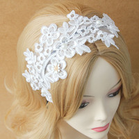 MYLOVE bridal white hair hook wide lace headband with pearls