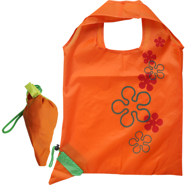 OEM Manufacturer custom logo carrot foldable shopping bag 190T polyester cheap shopping bag for promotion