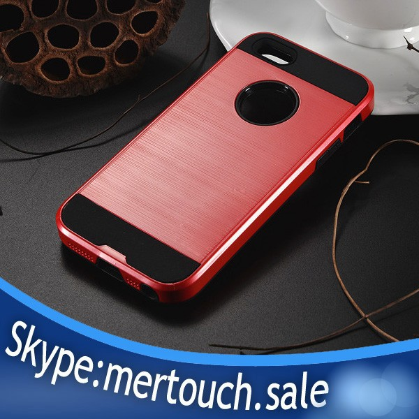 Brush back PC TPU bumper back cover for iPhone 5 armor case, for iPhone 5S armor case
