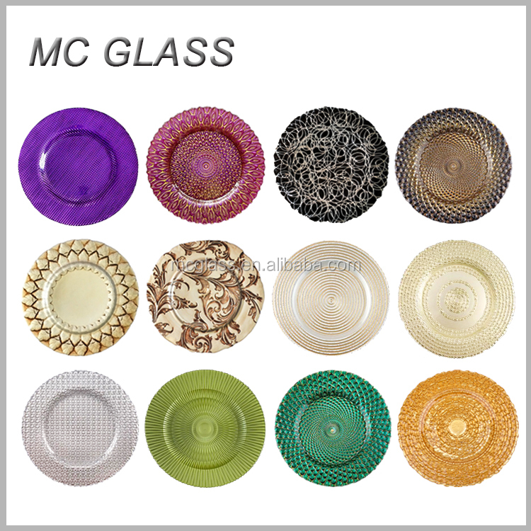 Wonderful Cheap Underplates Wedding Dinner Purple Glass Charger Plates Wholesale