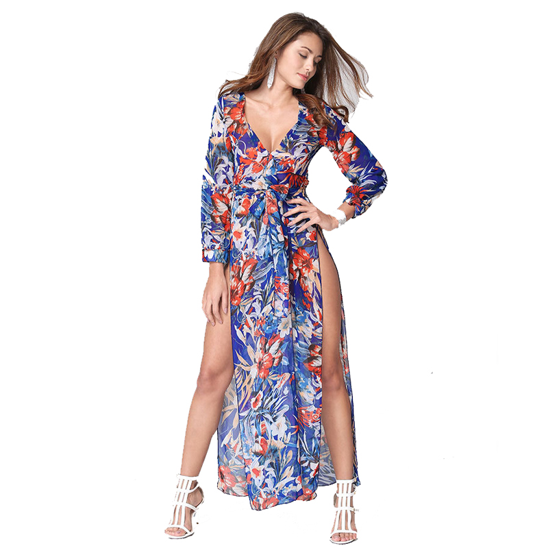 2016 Top selling Women long sleeve V neck chiffon printed belted side slit sex prom dress for wholesale