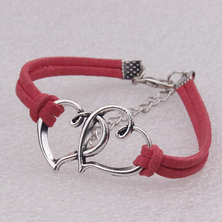 H-003 Ally Express Wholesale Heart Charms For Bracelet Making Handmade Fabric Woven Rope Love Bracelet