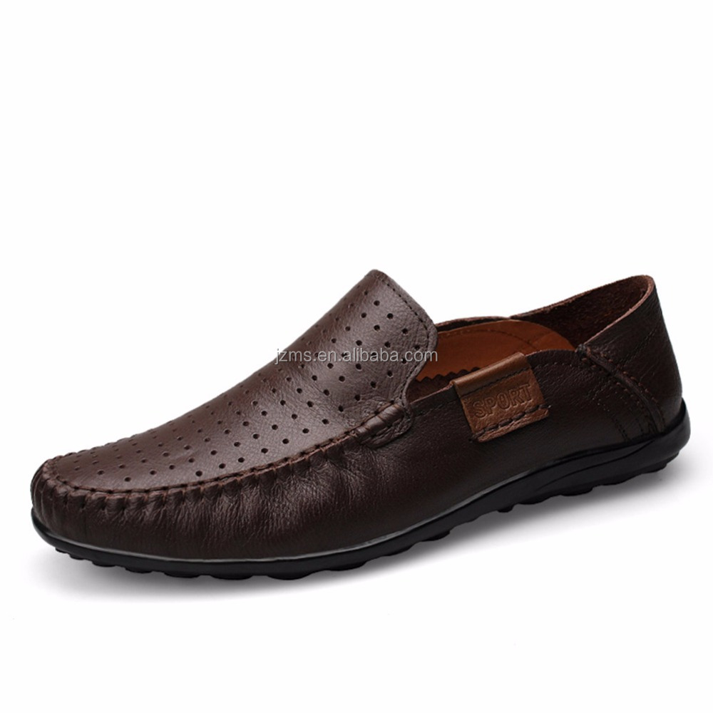 Rismart Mature Men's Air Hole Top Quality Cow Leather Casual Shoes