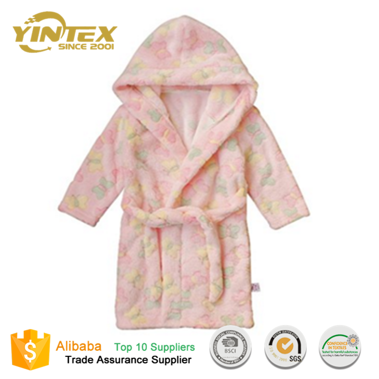 Wholesale Kid's Printing Flannel Spa hooded Bath Robes For Children